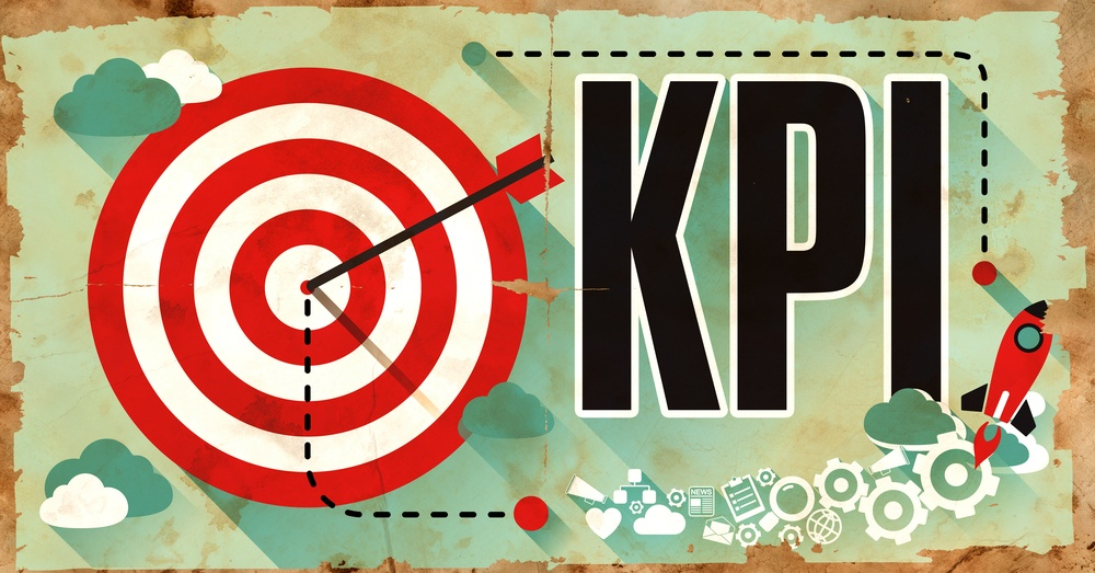 KPI - Key Performance Indicator- Word Drawn on Old Poster. Business Concept in Flat Design.