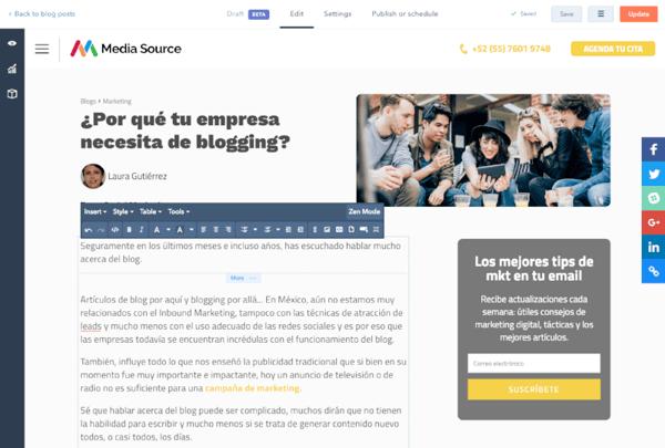 Herramienta de blog
