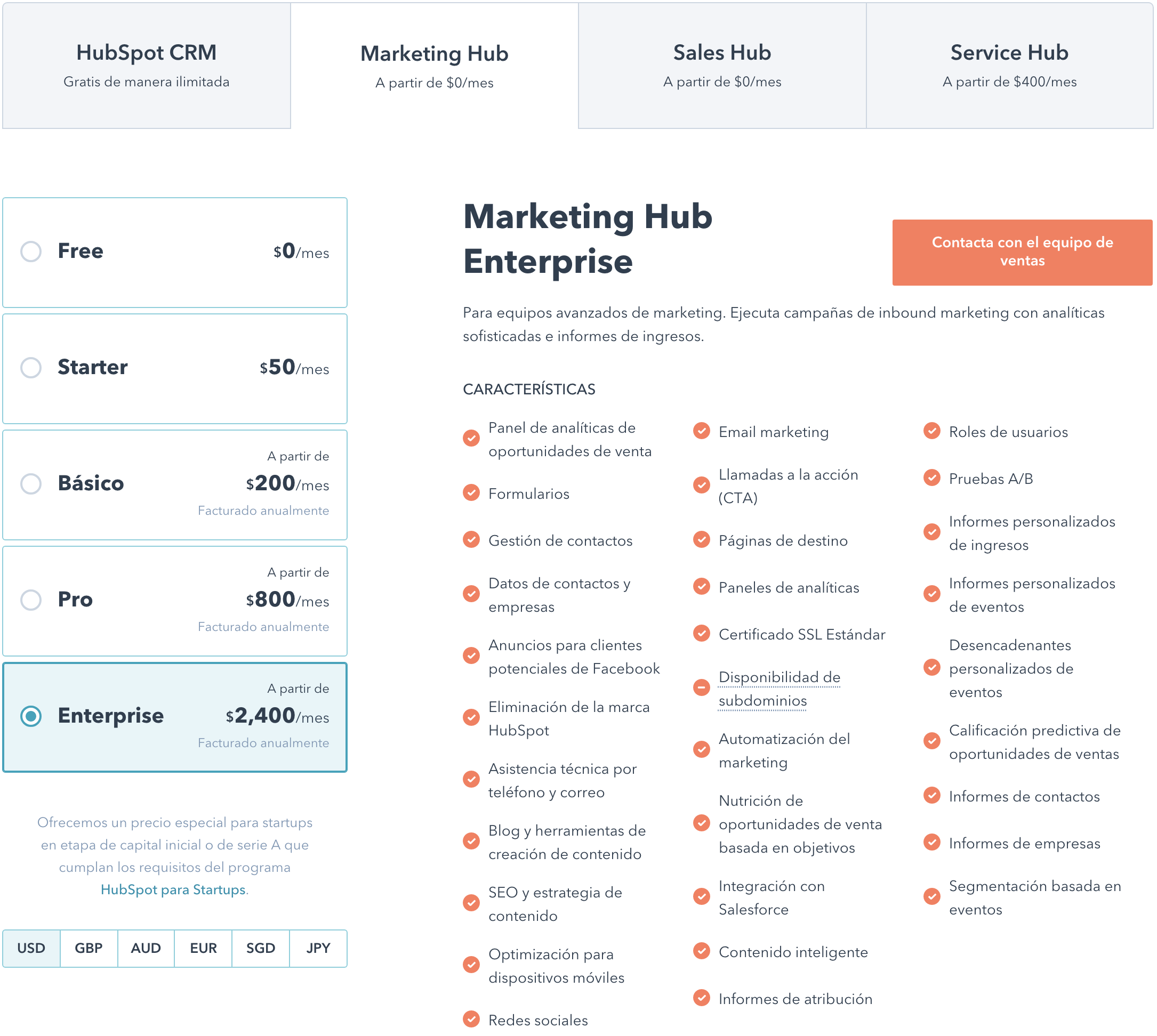 Planes de HubSpot Marketing