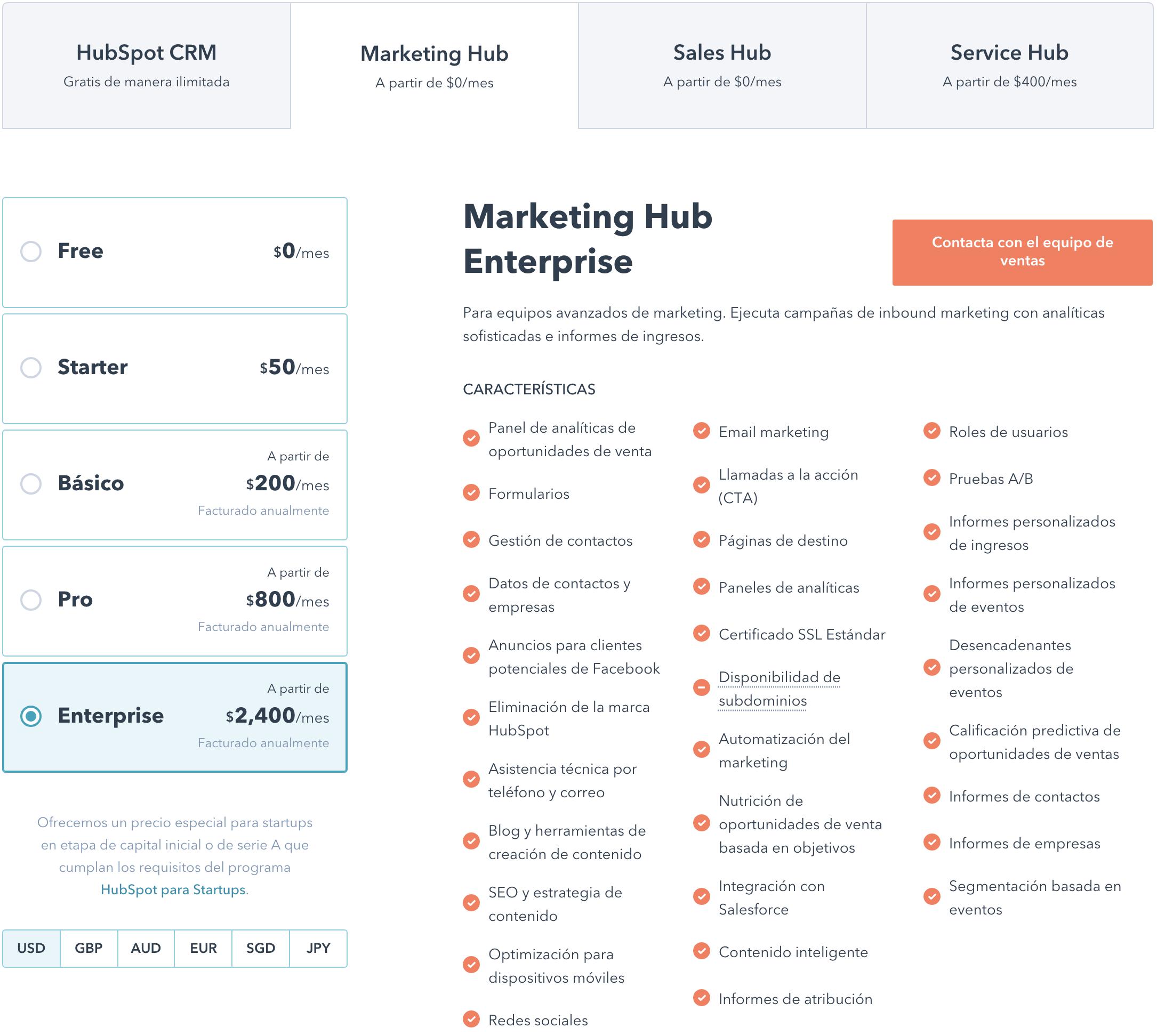 Planes de HubSpot Marketing