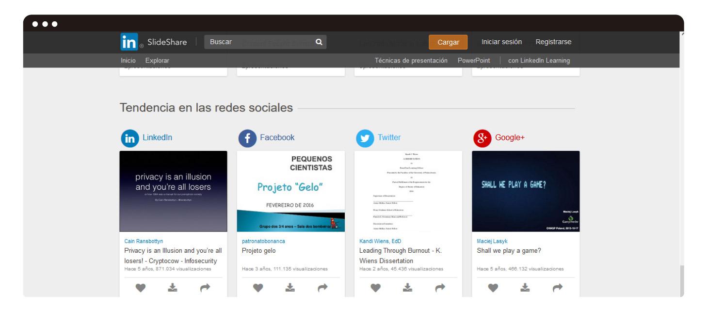 """""""Tendencias en redes sociales"""" en el home de SlideShare"""