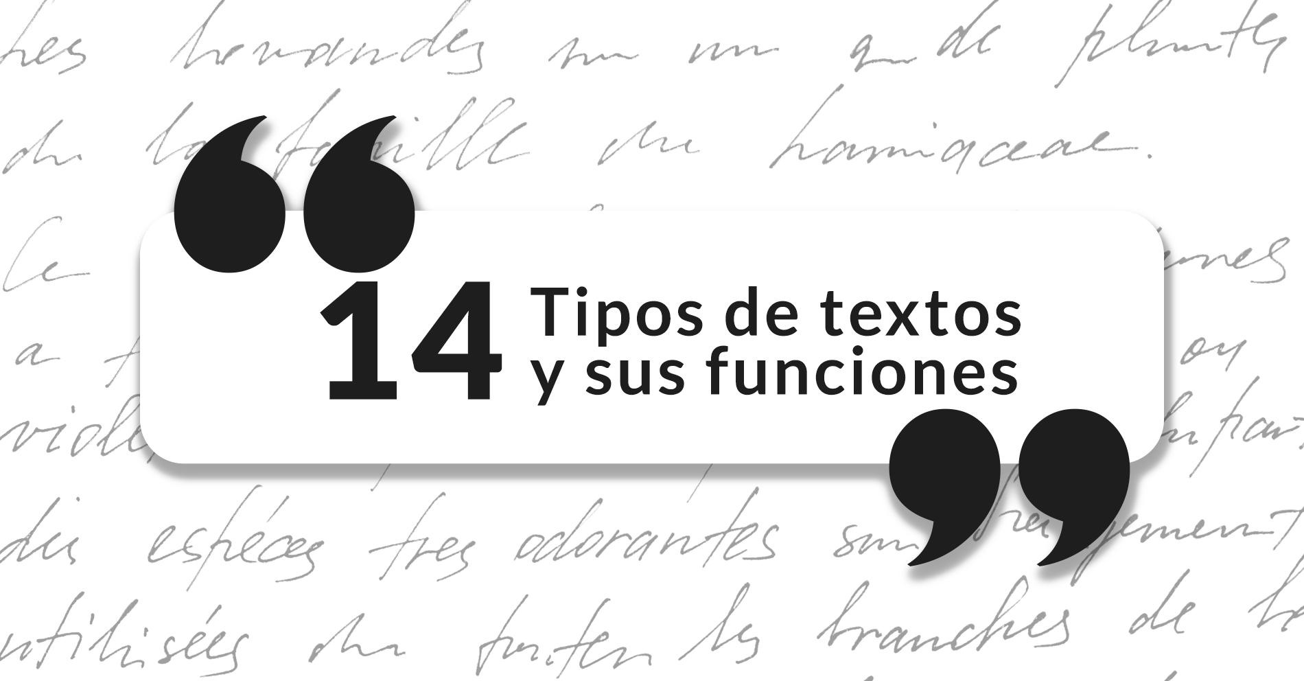 14 Tipos De Textos Y Funciones